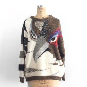 """Hawk Eyes"" Vintage Sweater Mariea Kim, 90s crew"